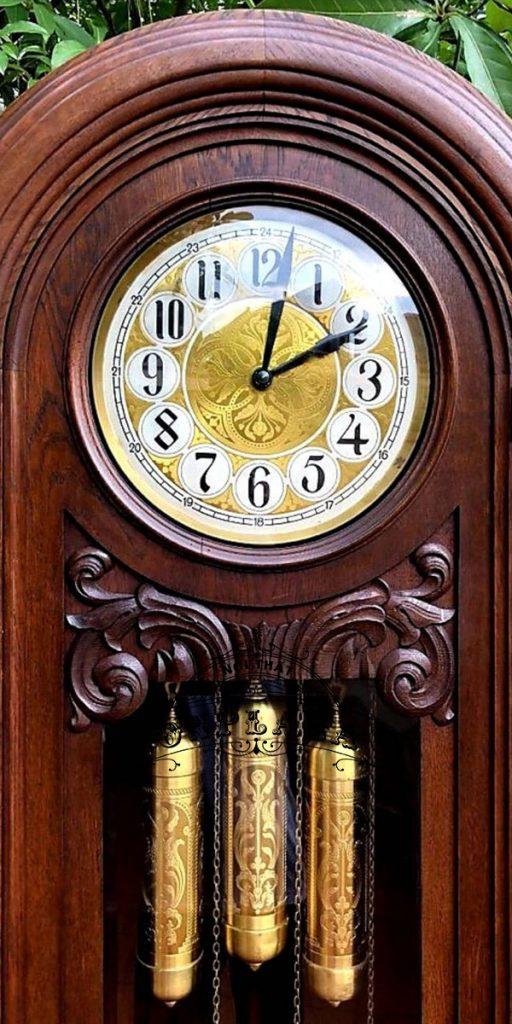 Đồng hồ tủ đầu ông sư mạ vàng cổ 12 gông 3