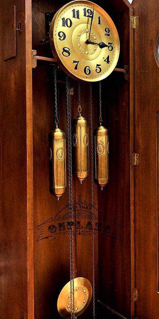 Đồng hồ tủ đầu ông sư mạ vàng cổ 12 gông 5