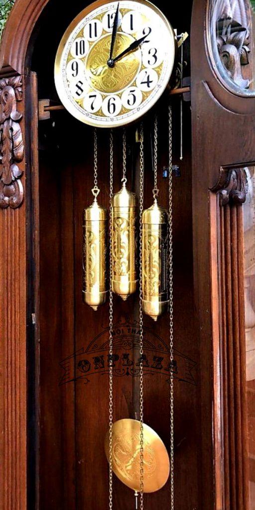 Đồng hồ tủ đầu ông sư mạ vàng cổ 12 gông 6