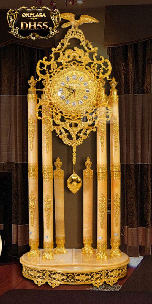 Đồng hồ cây DH55 đá ngọc bích phong thủy cổ điển châu Âu mạ vàng