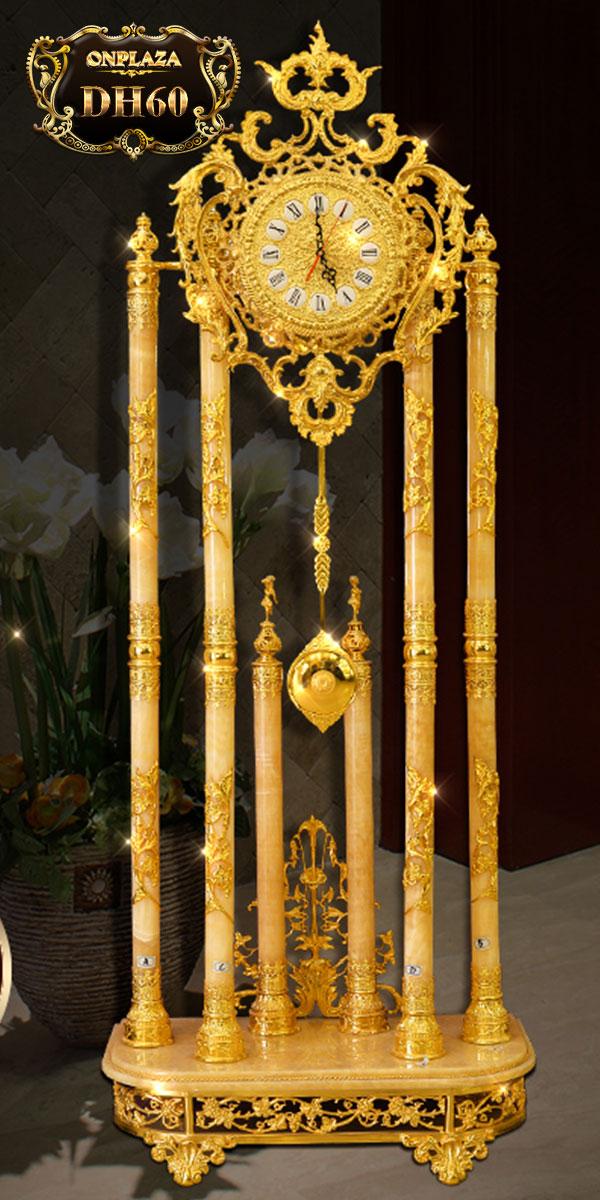Đồng hồ cây đá ngọc bích DH60 phong thủy phong cách châu Âu cổ điển mạ vàng 24k cao cấp