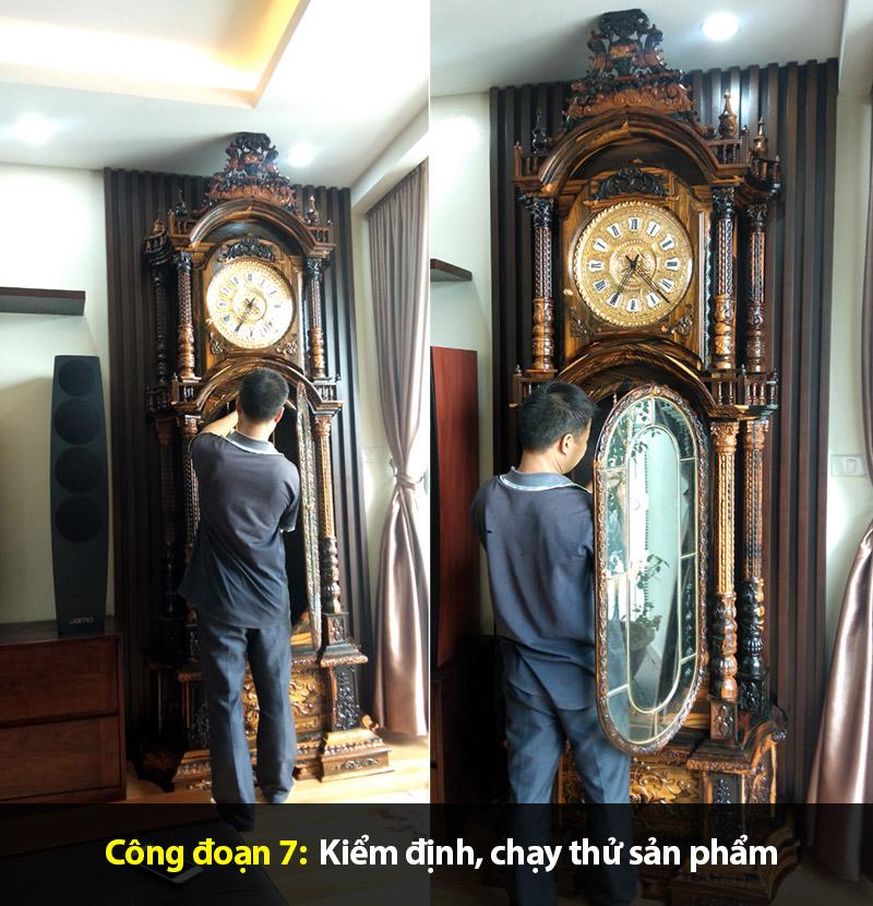 Công đoạn kiểm định, chạy thử sản phẩm đồng hồ cây bàn giao cho khách