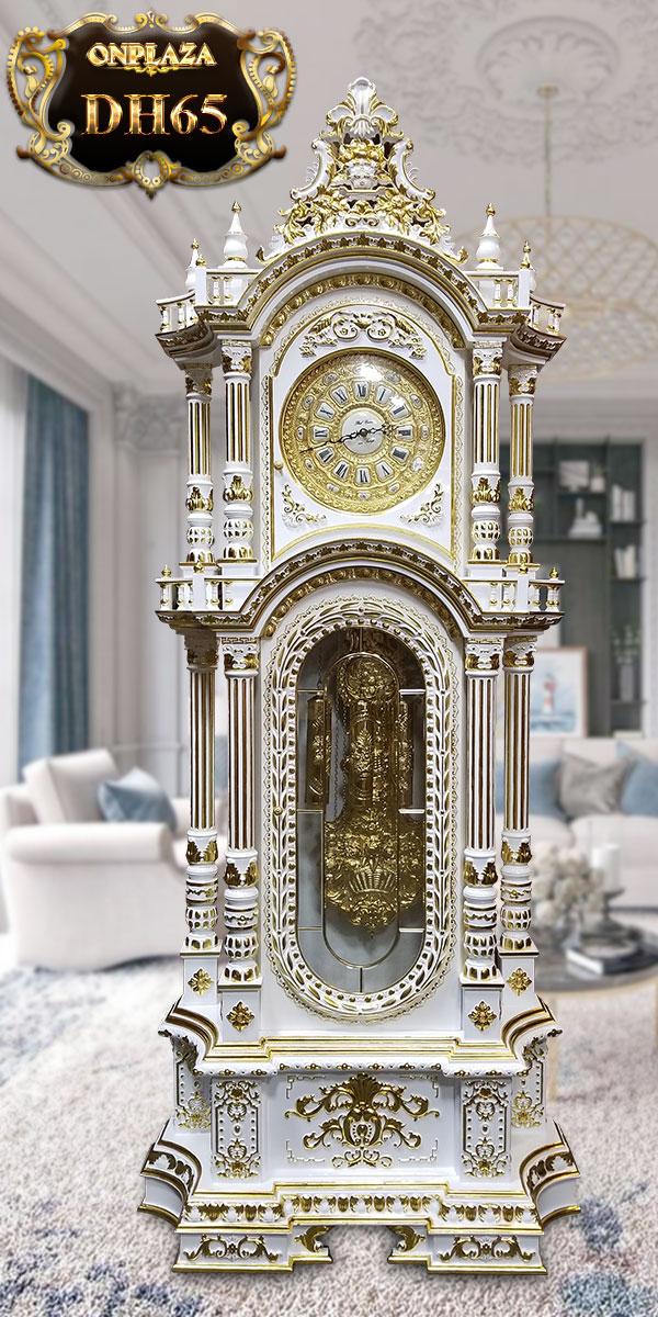 Đồng hồ cây tân cổ điển DH65 gỗ hương mạ vàng 24k sang trọng